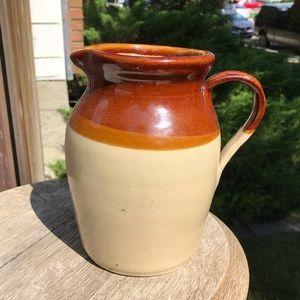 Antique pottery pitcher / jug 2-tone brown